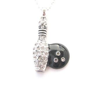 Bowling Ball Black Pendant Chain Necklace